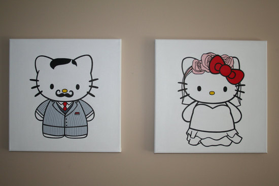 Mr and Mrs Hello Kitty Wedding Art