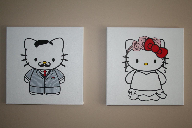 Hello Kitty Wedding Gift: Mr And Mrs Hello Kitty Wedding Art