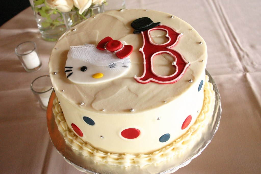 Simple-festive-wedding-cake-with-hello-kitty-and-sports-logo.full