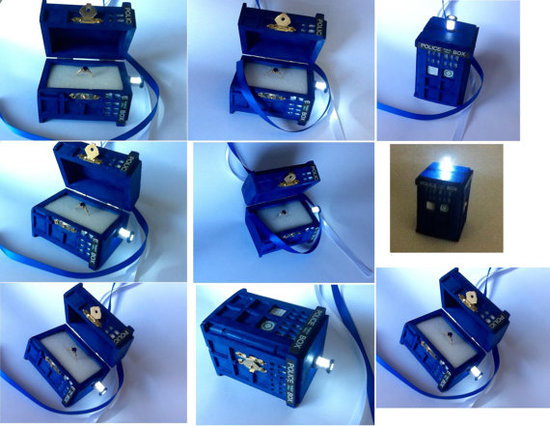 photo of TARDIS Ring Box with LED Light by Etsy seller BelmouridaDesign