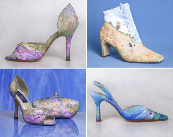 photo of Watercolor painted wedding shoes
