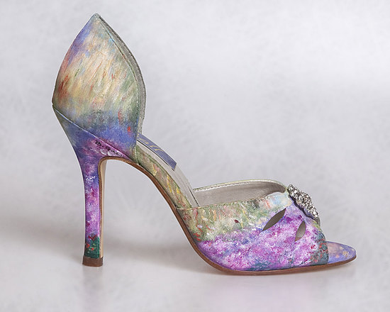 Romantic watercolor painted wedding shoes