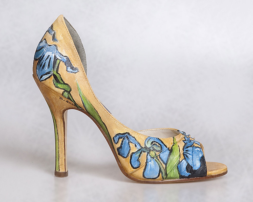 Watercolor painted wedding shoes