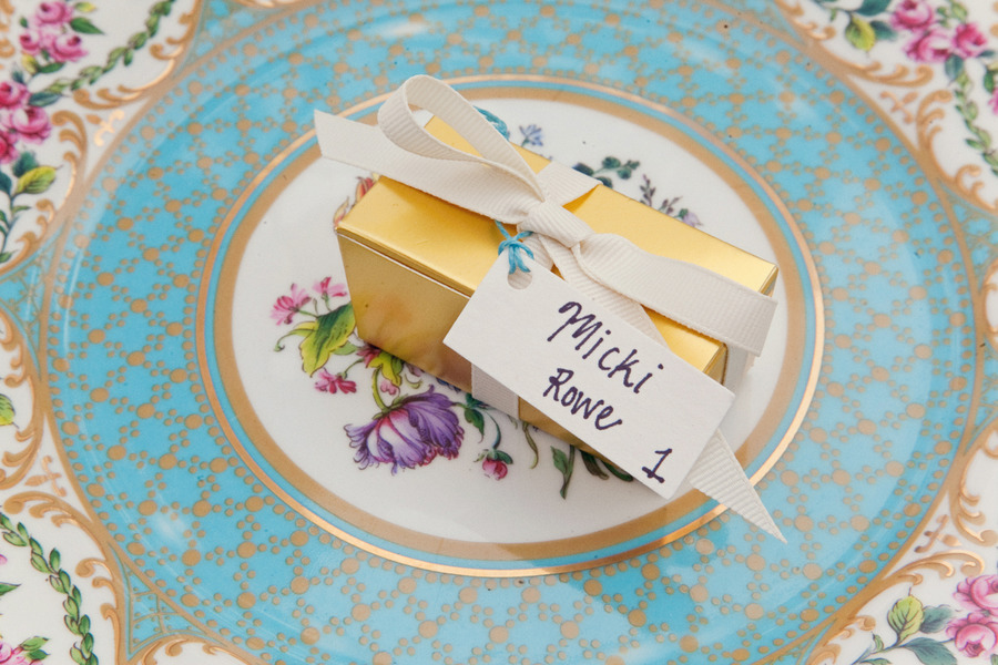 Vintage china for wedding reception tables