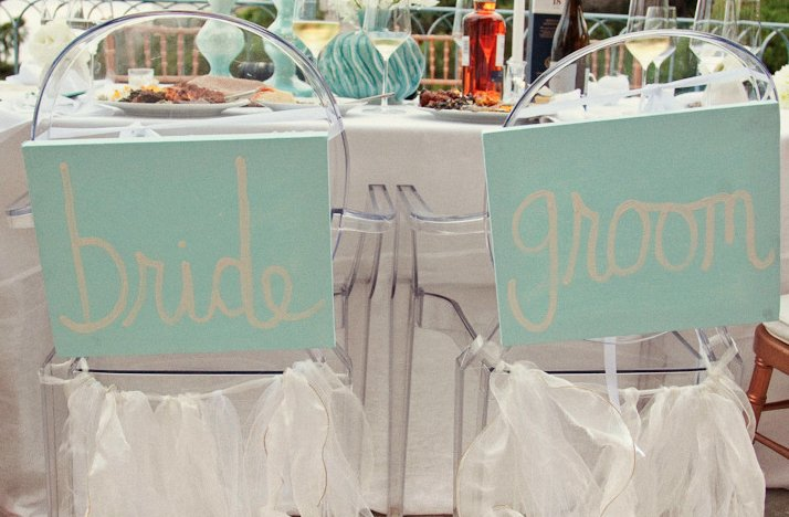 Ghost Chairs with Custom Bride and Groom Signs