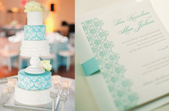Turquoise damask wedding cake and invites
