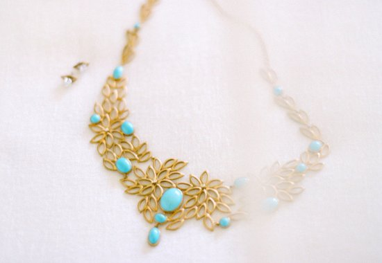 Turquoise and gold statement wedding necklace
