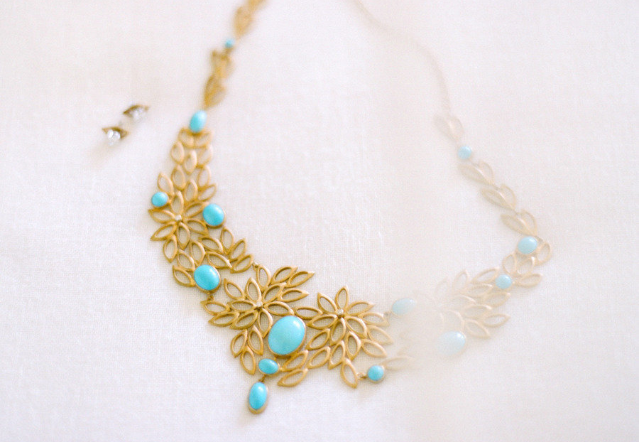 turquoise and gold statement wedding necklace onewed