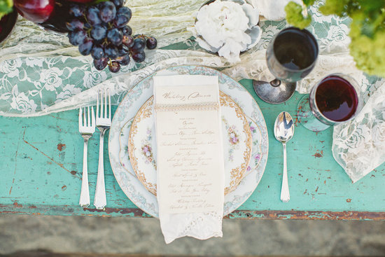 Rustic vintage elegance wedding table setting
