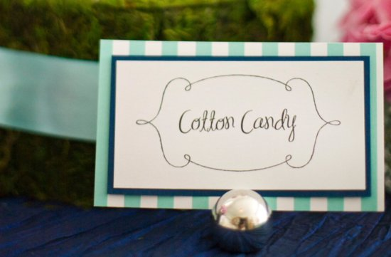 Striped dessert bar wedding table cards