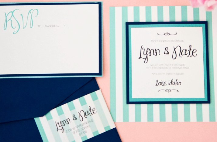 Turquoise navy white wedding invitations