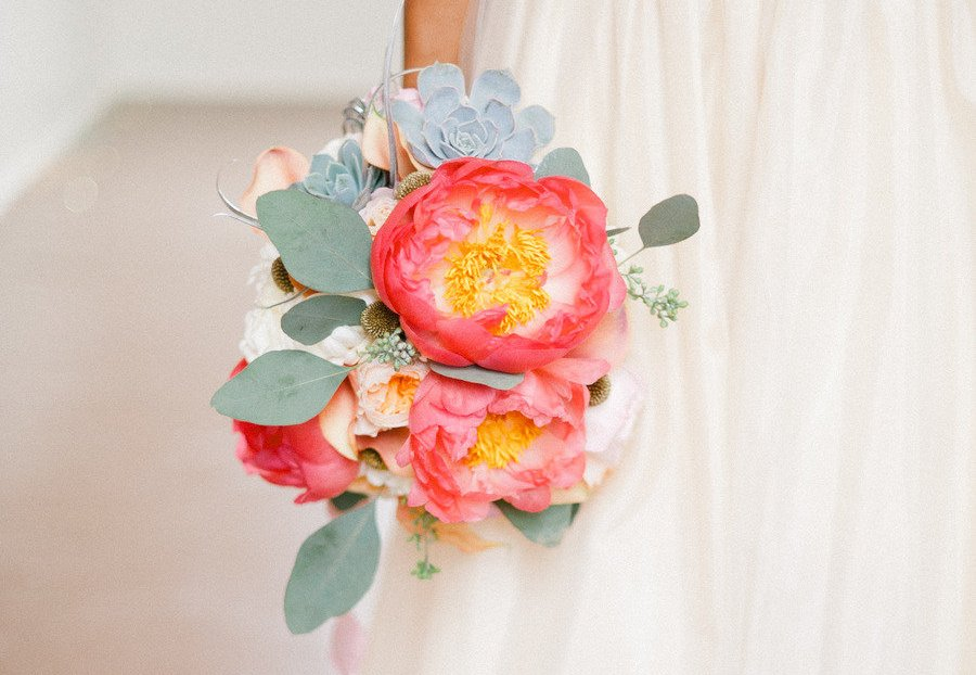 Peony and succulent wedding bouquet
