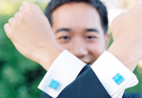 Turquoise lego cuff links for grooms