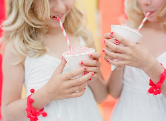 White and Neon Coral Junior Bridesmaids