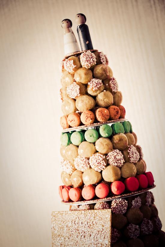 photo of Stacked Macaron Wedding Cake