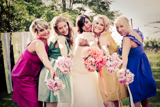 Colorful Mix and Match Bridesmaids