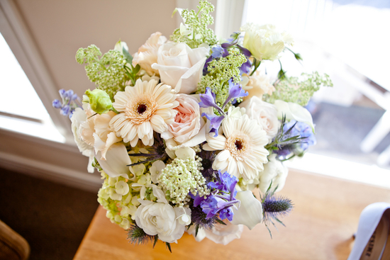 Ivory celery and lilac bridal bouquet