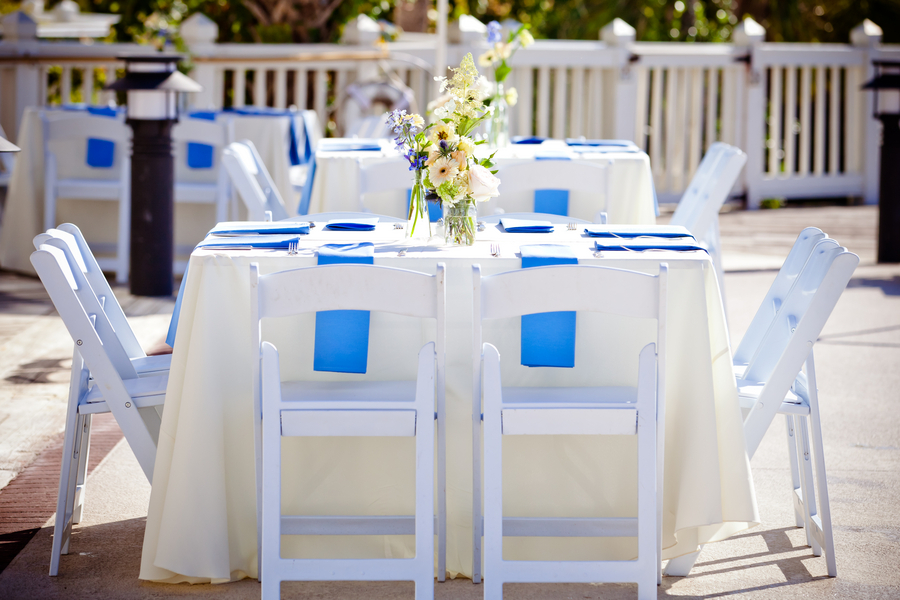 Outdoor beach wedding reception simple tablescape