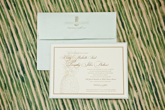 Pastel aqua ivory and gold wedding invitations