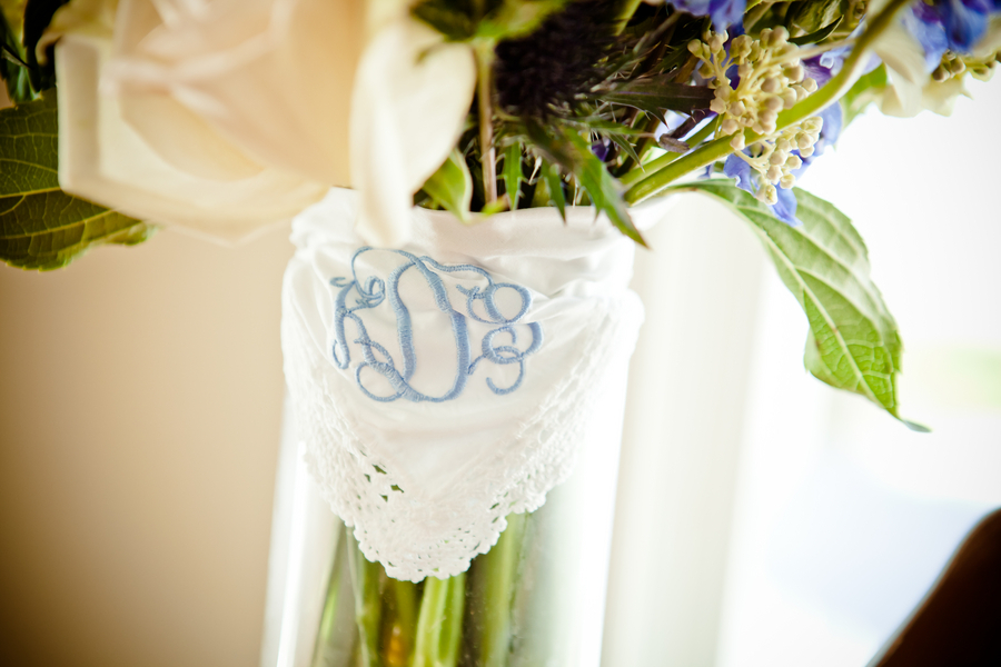 White hanky with blue embroidery to wrap the brides bouquet