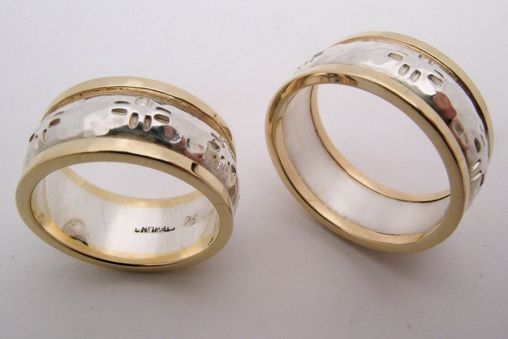 Recycled Gold And Silver Hammered Mens Wedding Bands