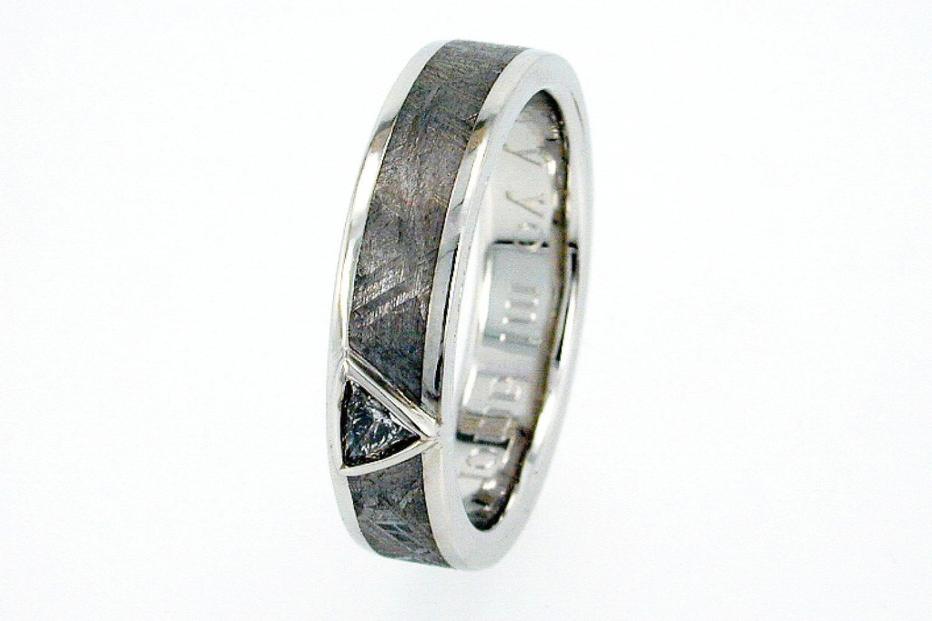 Unique Meteorite Wedding Band for Grooms