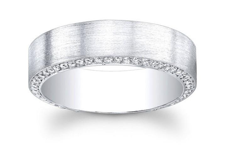Mens Wedding Bands Platinum | Platinum Mens Wedding Band With Pave Diamonds