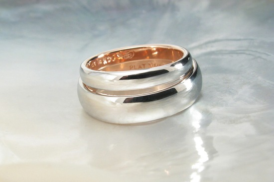 Two tone platinum rose gold wedding bands