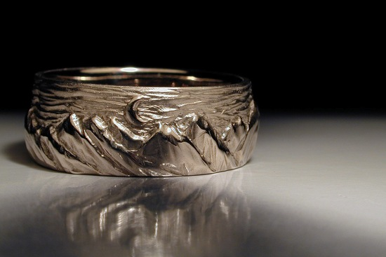 Hand Carved Mens Wedding Band with Mountain Design