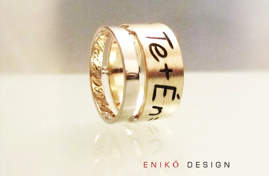 Unique personalized wedding bands yellow gold