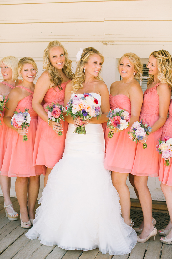 Pretty and pink bridesmaid dresses for outdoor wedding