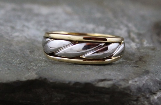 10k white and yellow gold mens wedding band