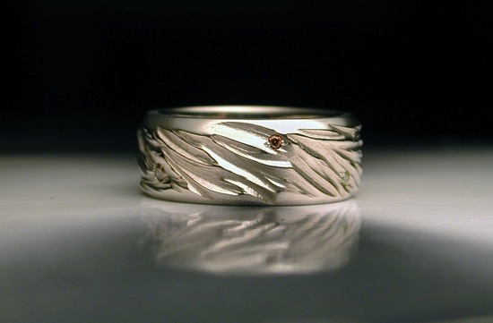 Carved mens wedding band with tiny gemstones