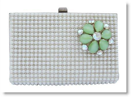 Vintage 40's faux pearl covered bridal clutch with jade brooch
