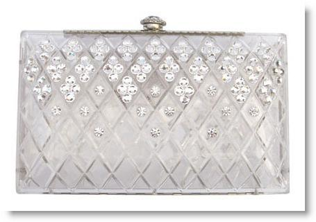 Vintage 50's clear Lucite pillow shaped clutch accented with clear Swarovski crystals