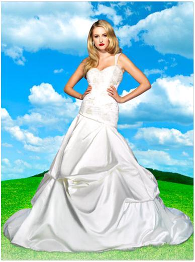 duchess satin Cinderella wedding dress