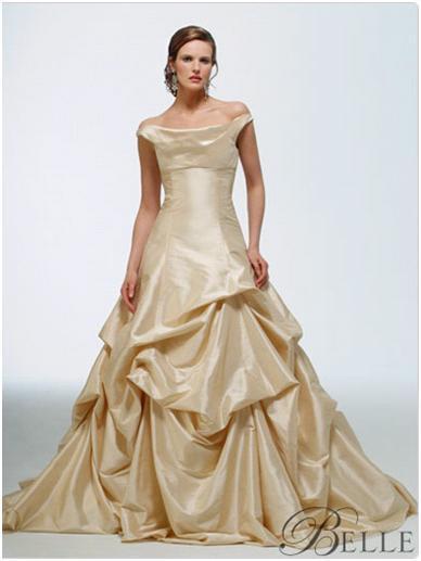 Disney\'s Belle taffeta draped wedding dress in light gold