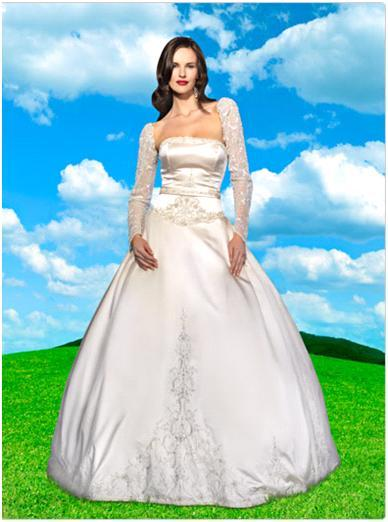 Disney's Sleeping Beauty duchess satin wedding dress