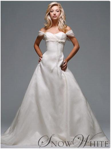 c6098dce1c1c Disney s Snow White rouched bodice and cap sleeve wedding dress