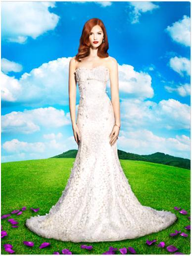 Disney's Giselle strapless form fitting netted lace wedding dress