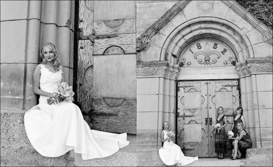 beautiful black and white photo- bride and bridesmaids in front of church