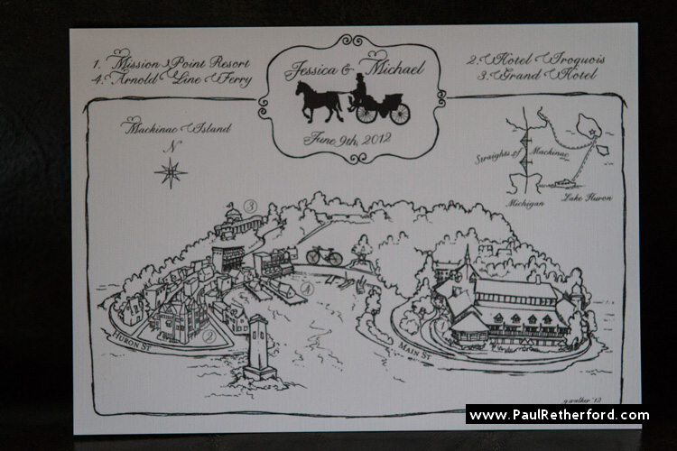 mackinac island mission point resort wedding invitation map photo
