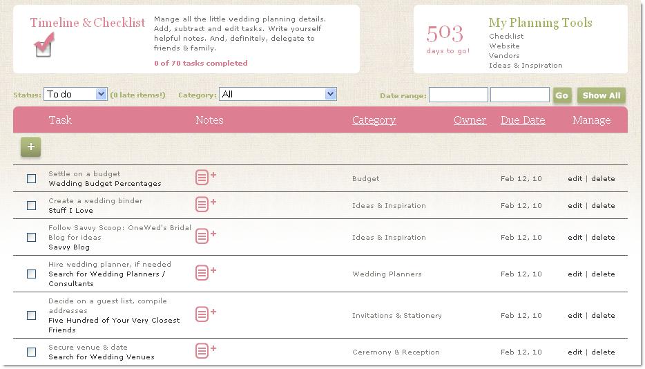 Printable Wedding Planning Timeline