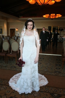 Gorgeous Bride in White Lace Wedding Dress