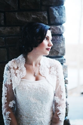Beautiful Bride with Vintage, Lace Wedding Dress and Bolero