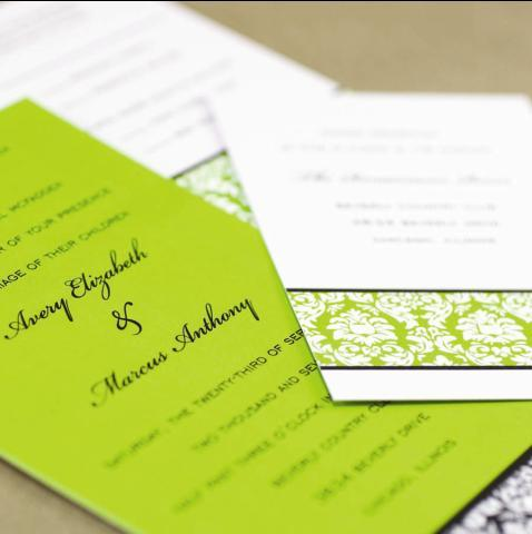 Banded Demask Wedding Invitations in Lime Green, Black, and White