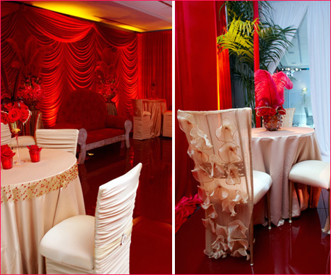 Retro Lounge Room Dressed in Vibrant Reds with a Pop of Cream