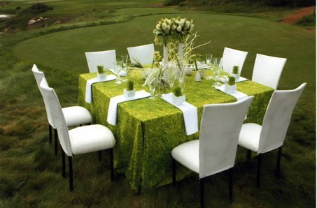 Outdoor reception white suede