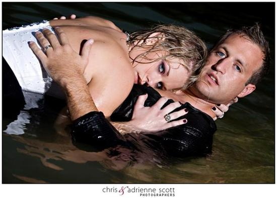 Bride and Groom pose together in water for day-after session