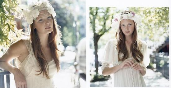 Whimsical, romantic head wear in ivory with ivory and dusty rose colored flowers